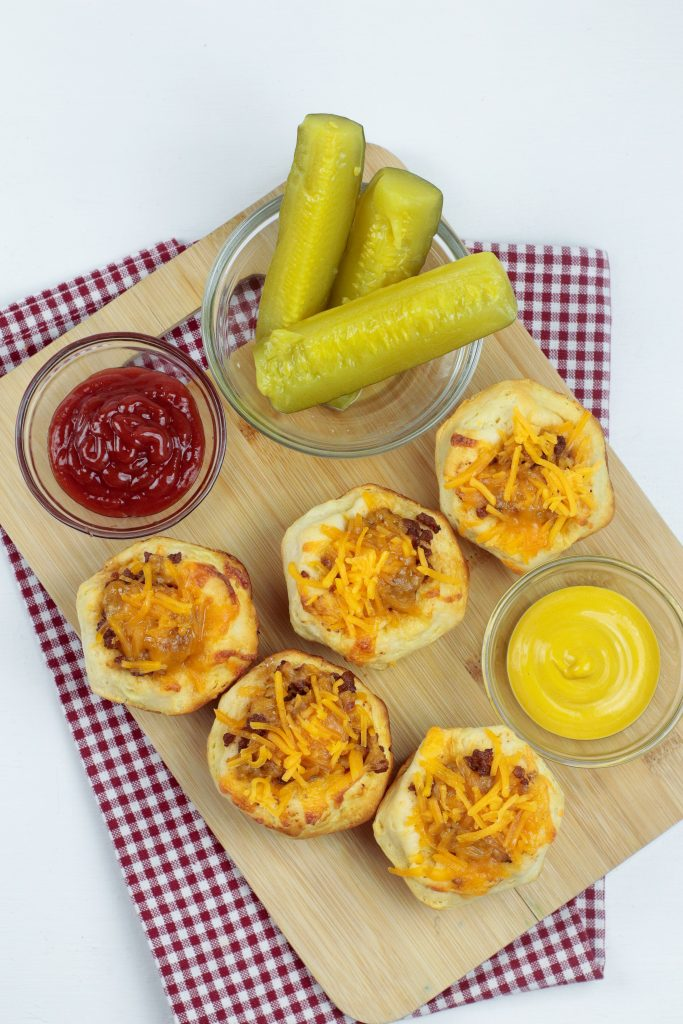 cheeseburger muffin cups on a wooden