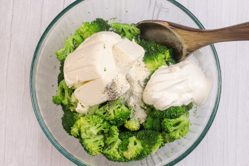 broccoli mixed together with cream cheese, seasoning and sour cream