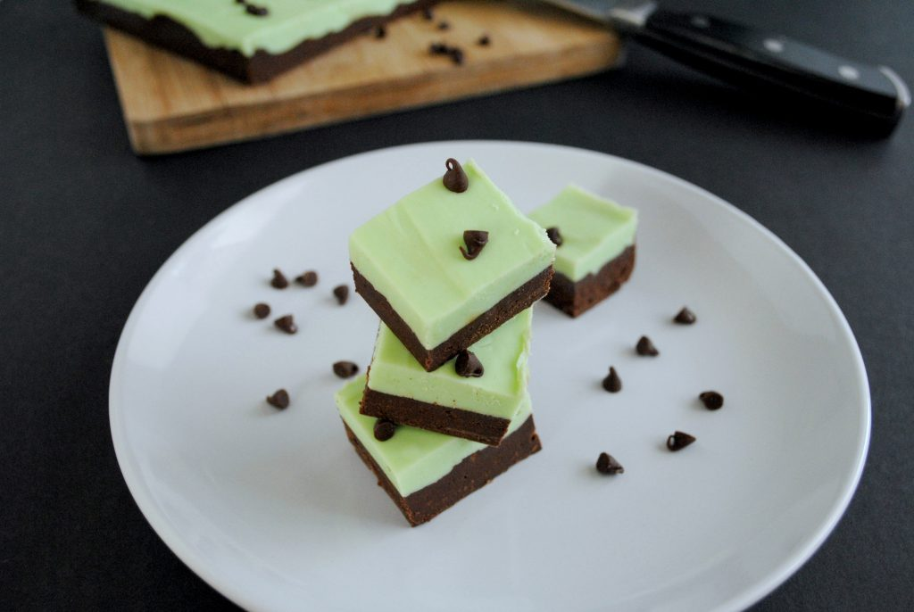 Mint Chocolate Frosting Fudge on a white plate