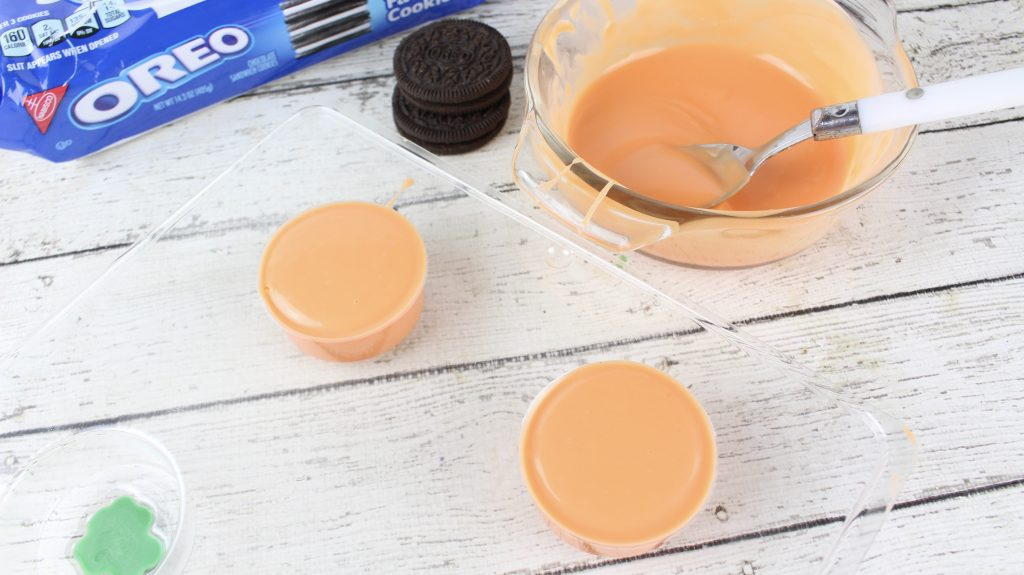 orange chocolate in a cookie mold