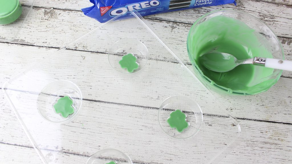 green chocolate in a cookie mold