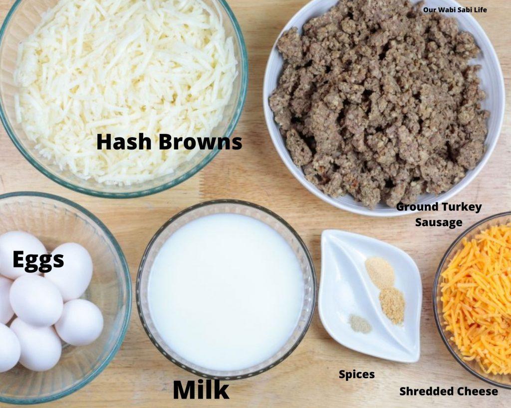 Ingredients to Make Sausage Hash Brown Egg Casserole