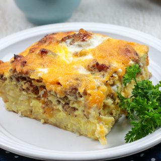 A slice of Hash Brown Egg Casserole on a white plate