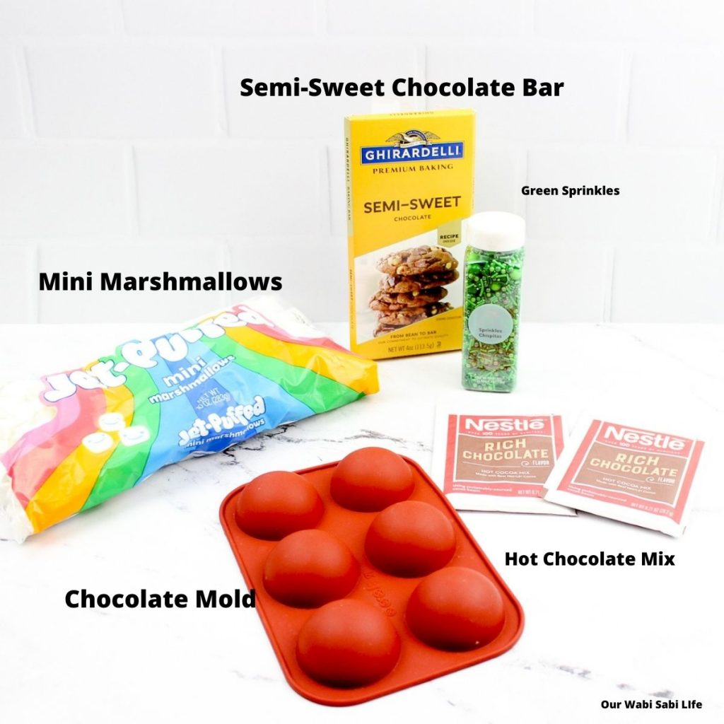 Ingredients needed to make St. Patrick's Day Hot Chocolate Bombs