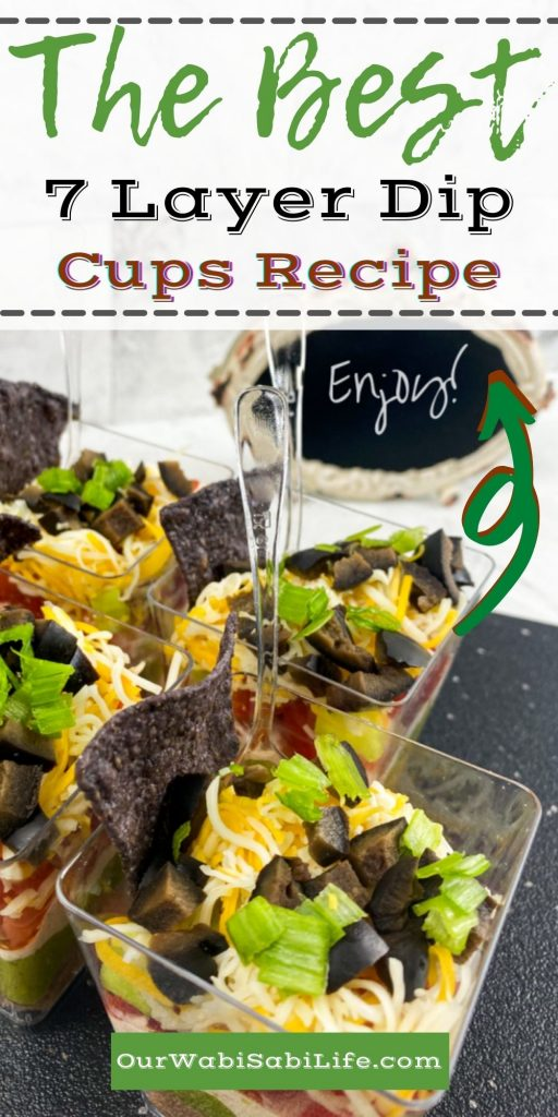The Best Individual 7 Layer Dip Cups Recipe pinterest image