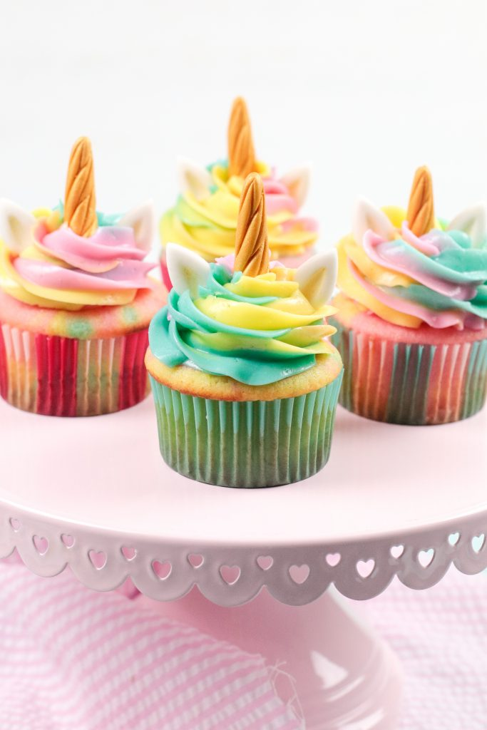 close up of unicorn cupcake