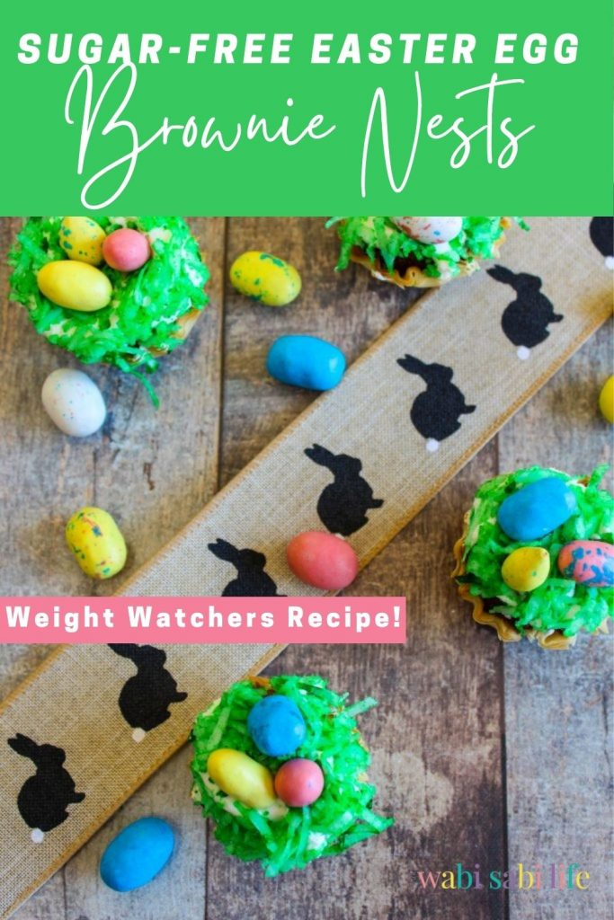 Easter egg nests with brownie bites and cool whip topped with green coconut
