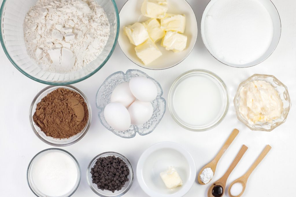 Ingredients to make Chocolate Bundt Cake