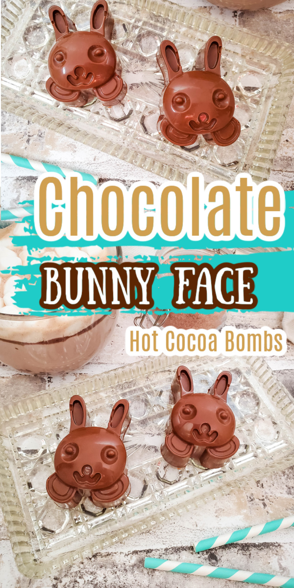 Two chocolate bunny face hot chocolate bombs on a glass tray