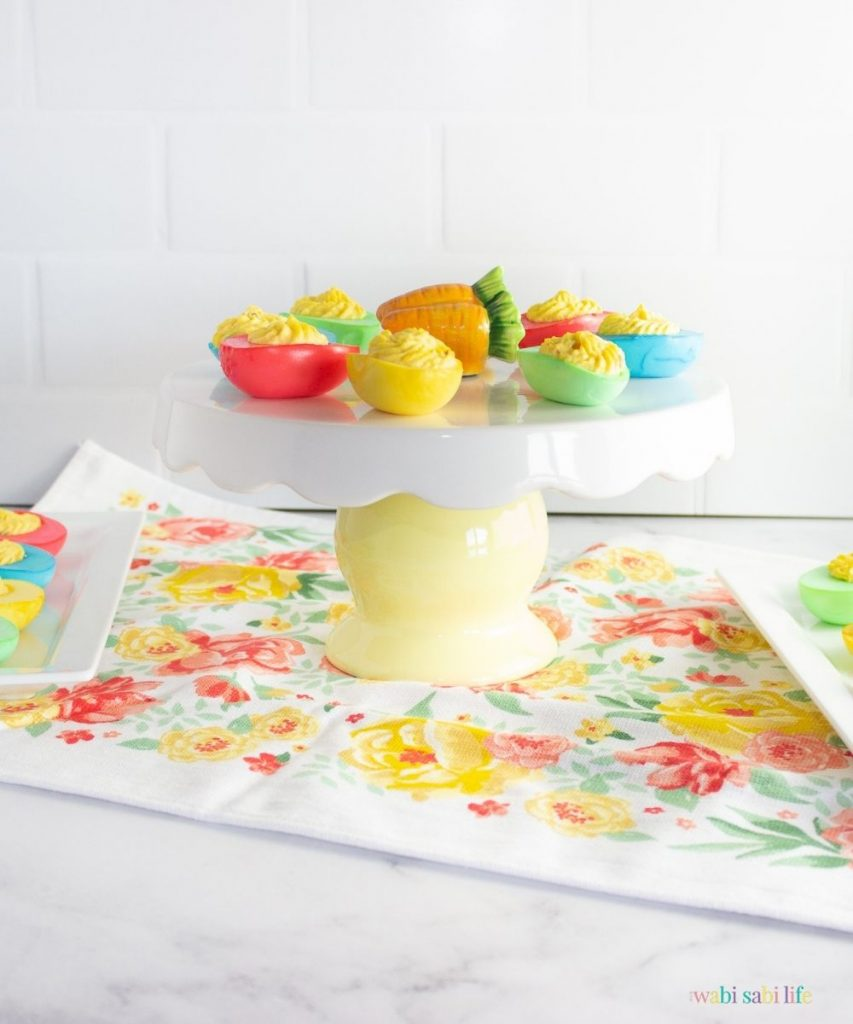 colored deviled eggs on a platter