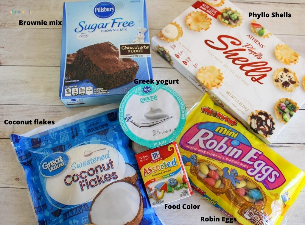 Ingredients needed to make Sugar-free Easter Egg Brownie Nests