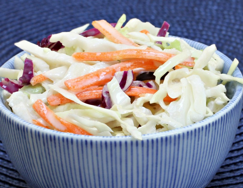 coleslaw in a blue bowl