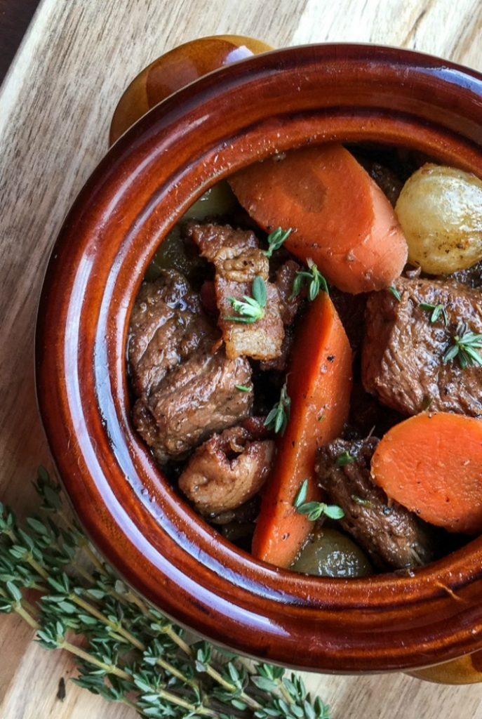beef burgundy stew in a crock