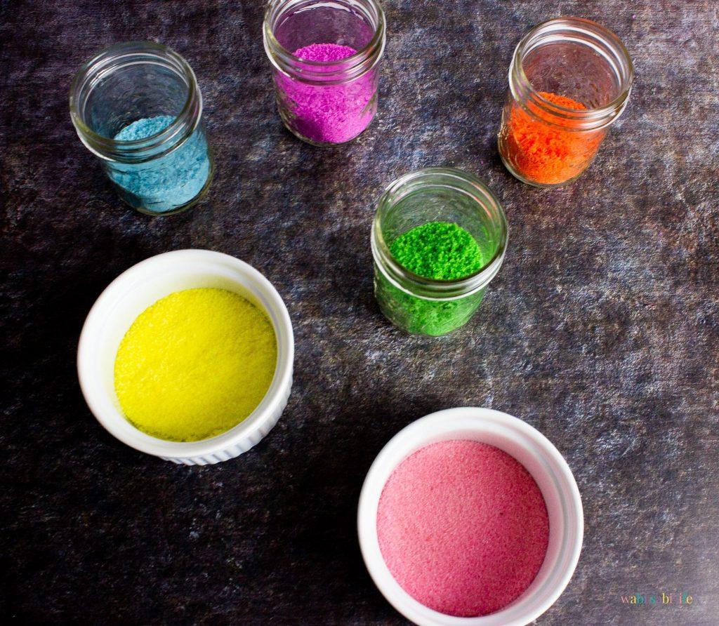 Different colors of DIY Sanding Sugar
