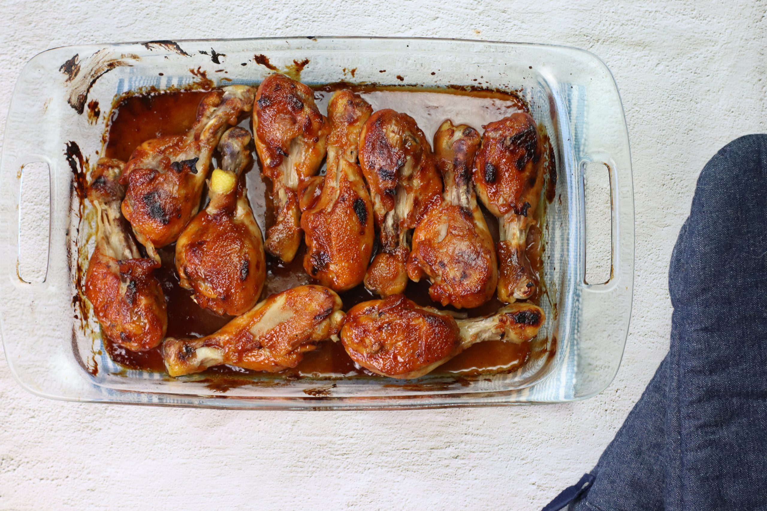 cooked chicken legs with BBQ sauce