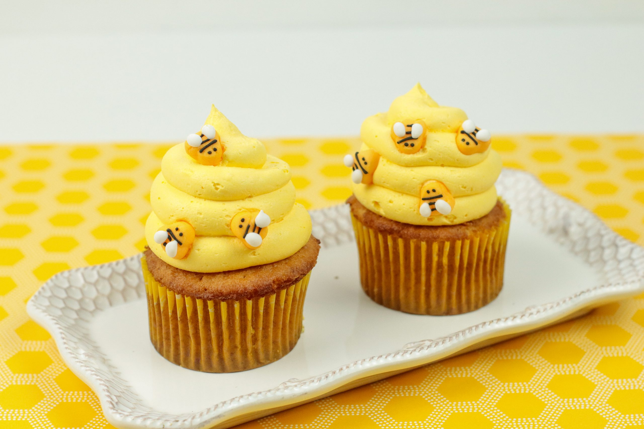 Honey Cinnamon Bumblebee Cupcakes on a platter.