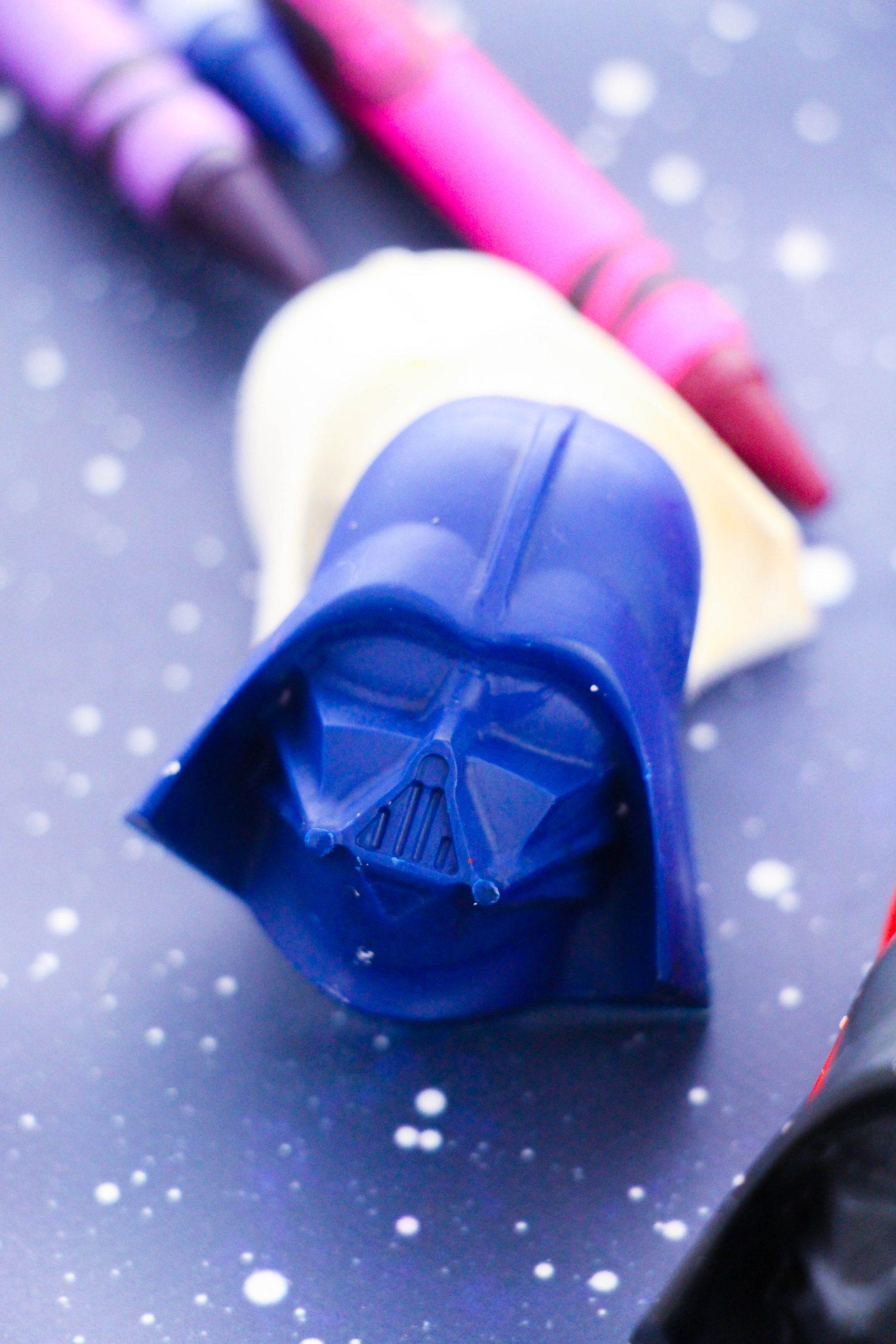 Close up of the blue Darth Vader Crayon.