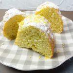 Meyer Lemon Bundt Cake on a checkered serving dish.