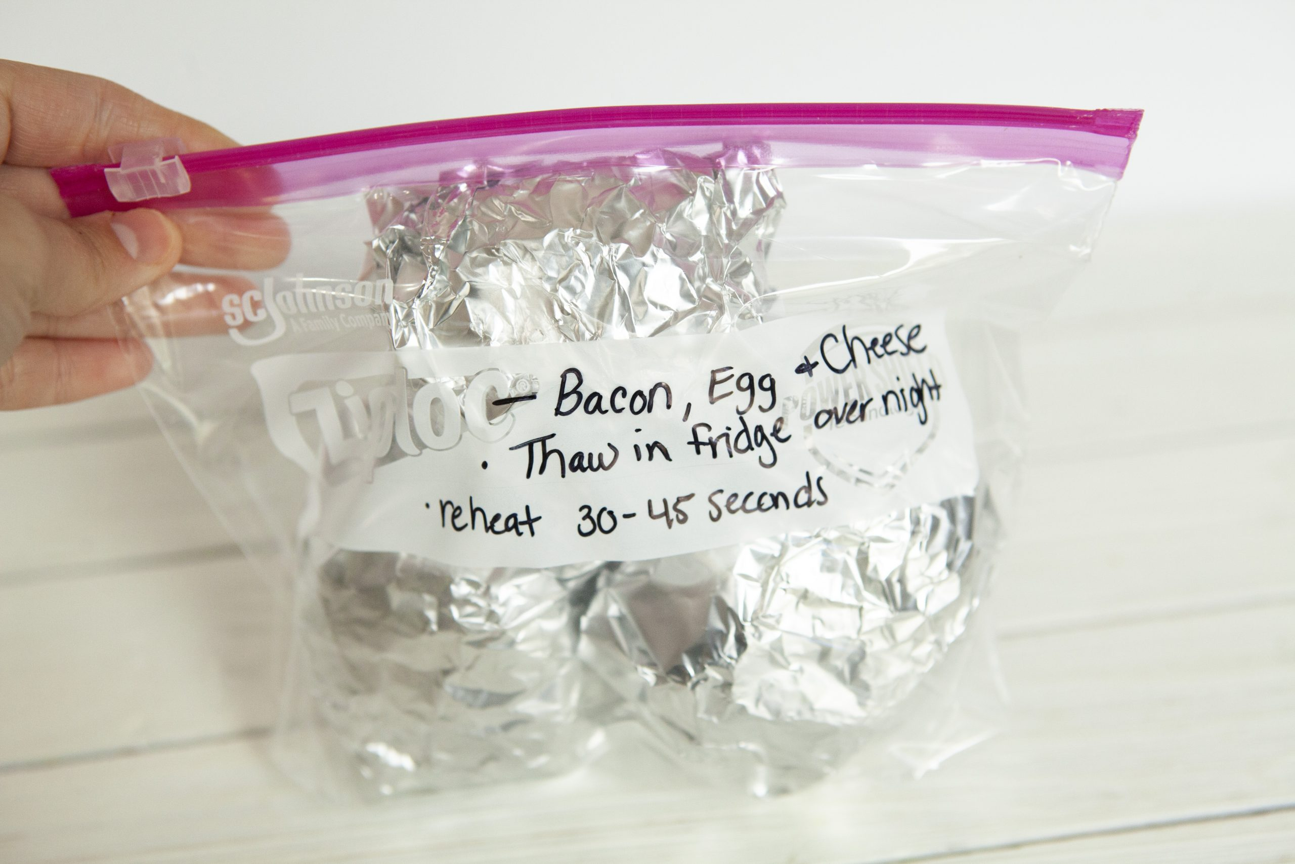 Weight Watchers Bacon, Egg and Cheese Biscuit in a freezer bag