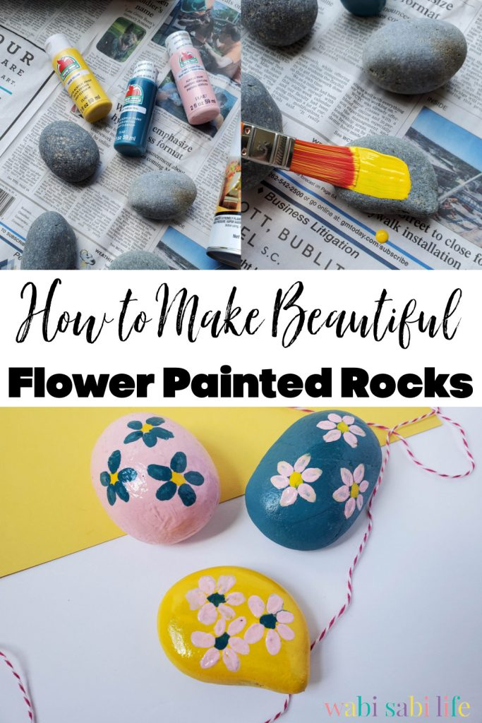 How to Make Beautiful Flower Painted Rocks pinterest image