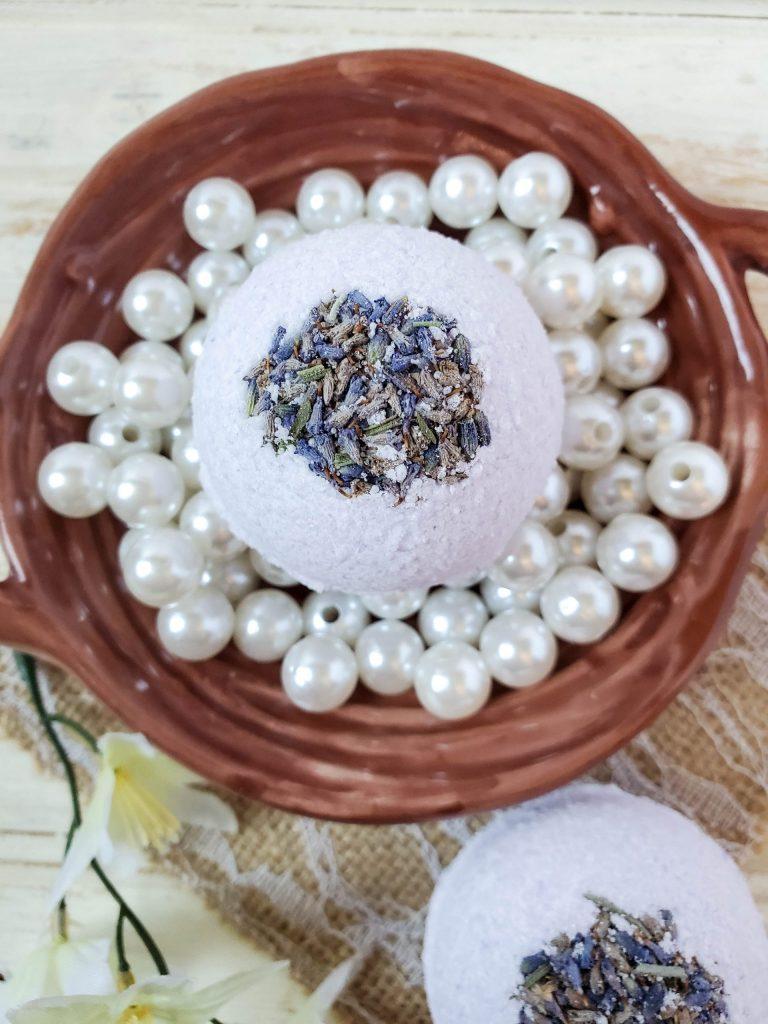 Lavender Eucalyptus Bath Bombs in a basket