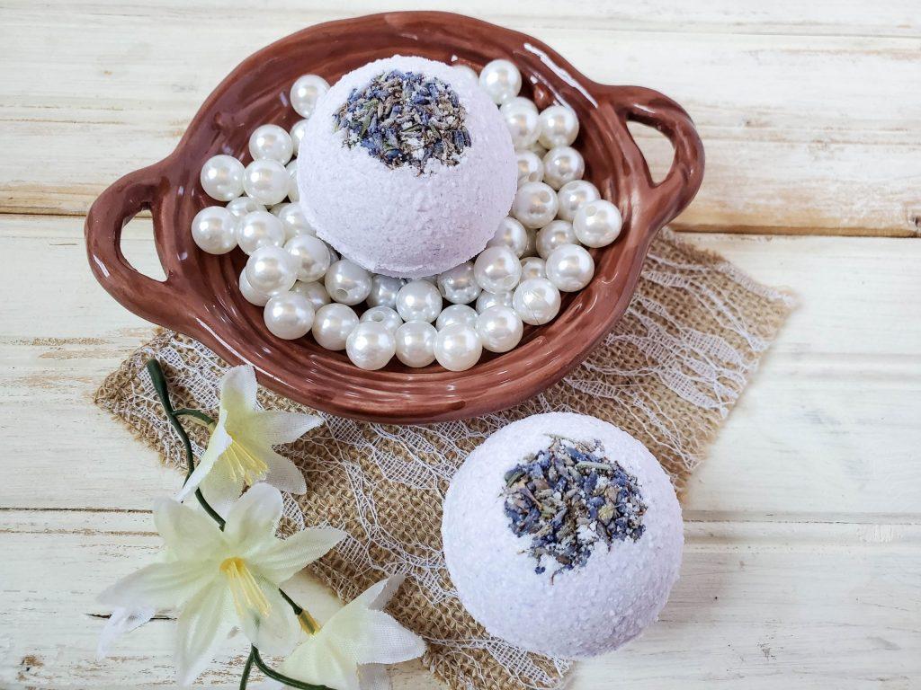 Eucalyptus Lavender Bath Bombs on a cloth