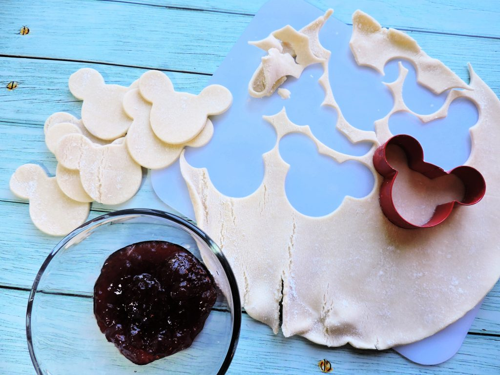cut the Mickey Mouse heads out of pie crust