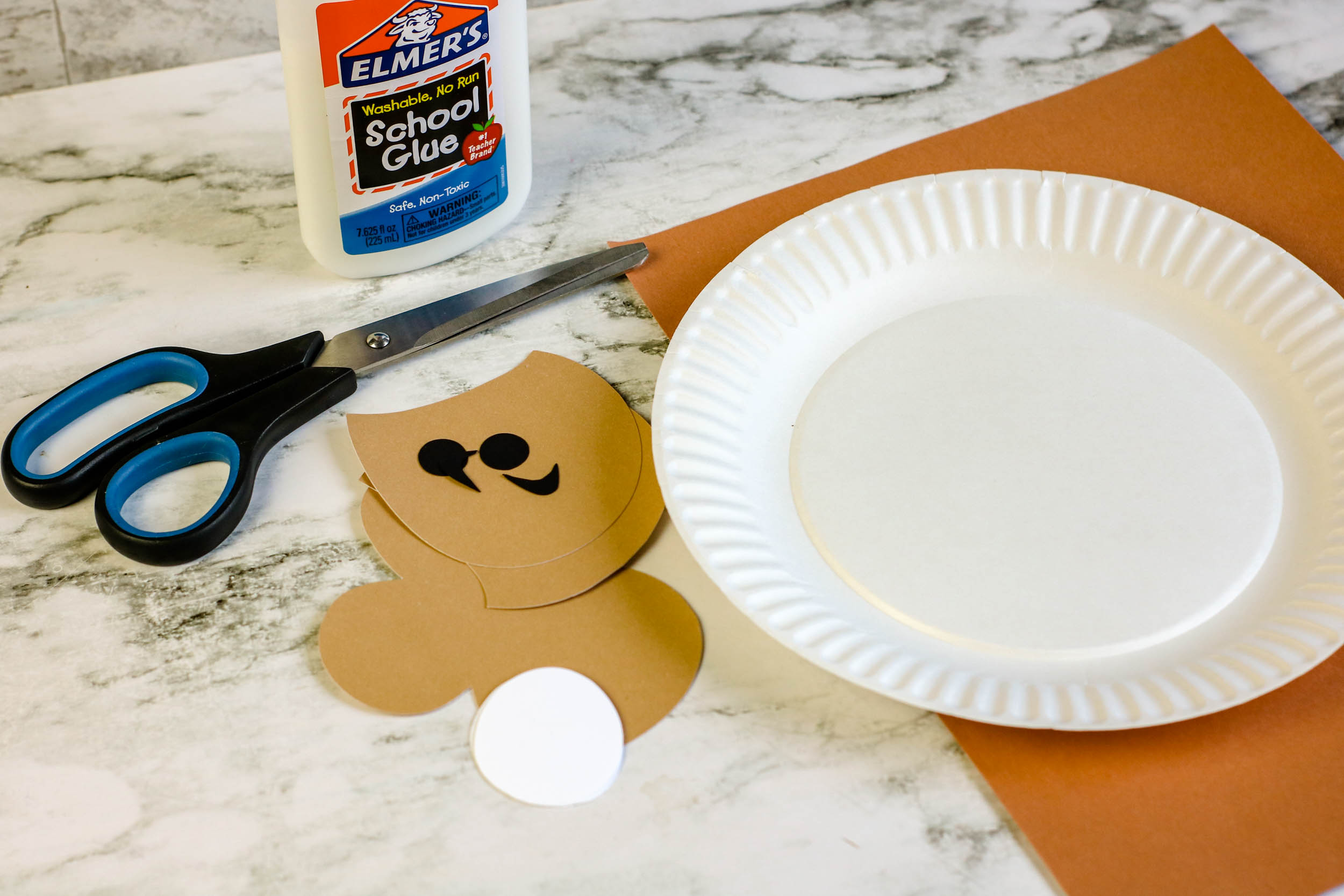 All of the Paper Plate Monkey Puppet materials.