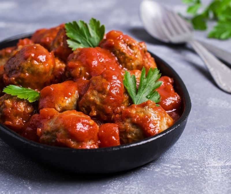 homemade meatballs in a skillet