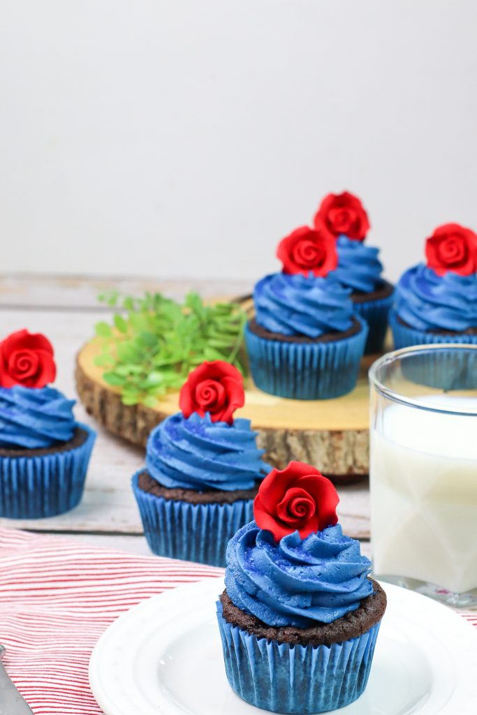 Beauty and the Beast Cupcakes - Chocolate Fudge Filled Cupcakes