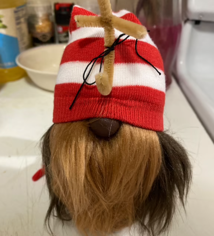 Max gnome with a white and red stripped hat.