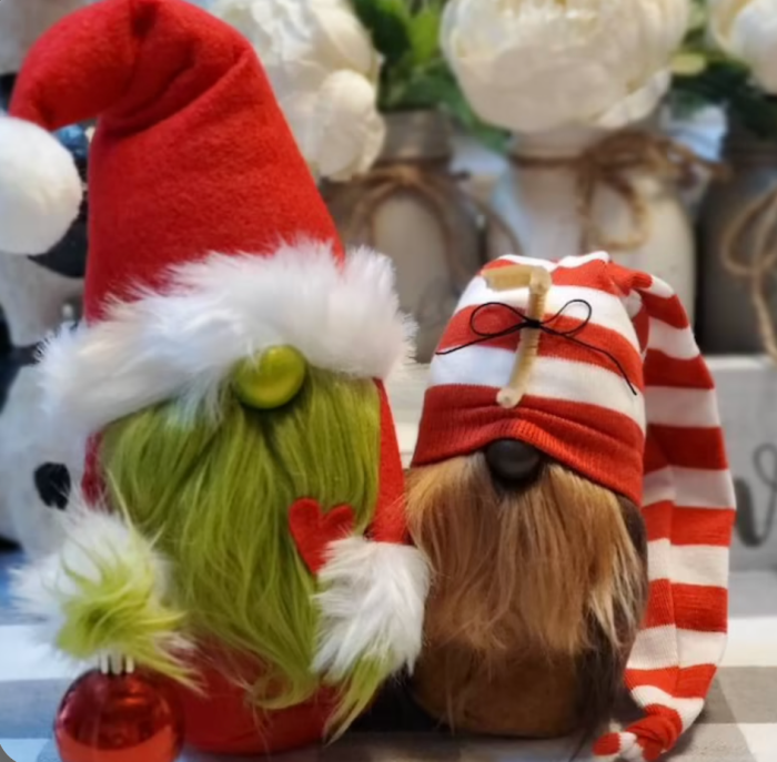 Grinch and Max gnome standing next to each other.