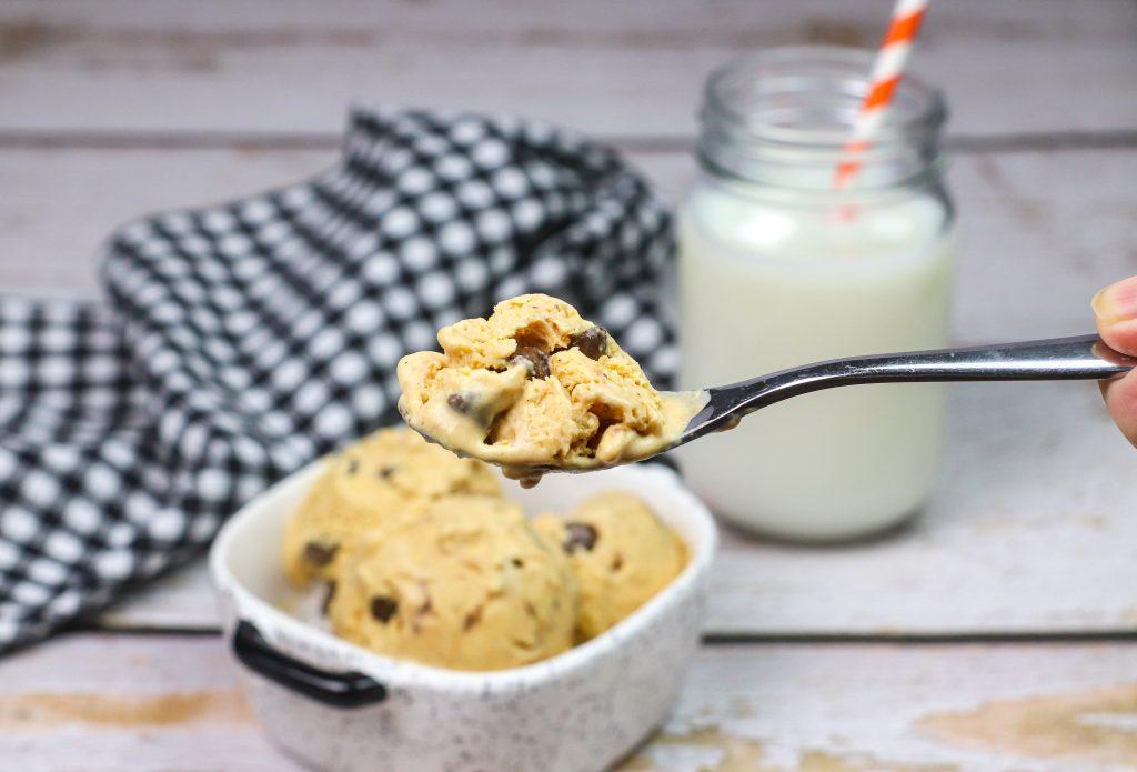 pumpkin spice ice cream on a spoon